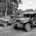 Restored American World War II vehicles
